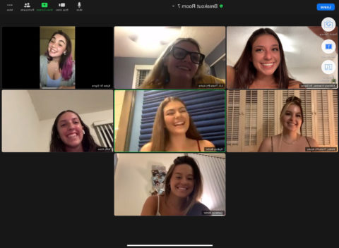 Students in Greek Life on a zoom meeting.